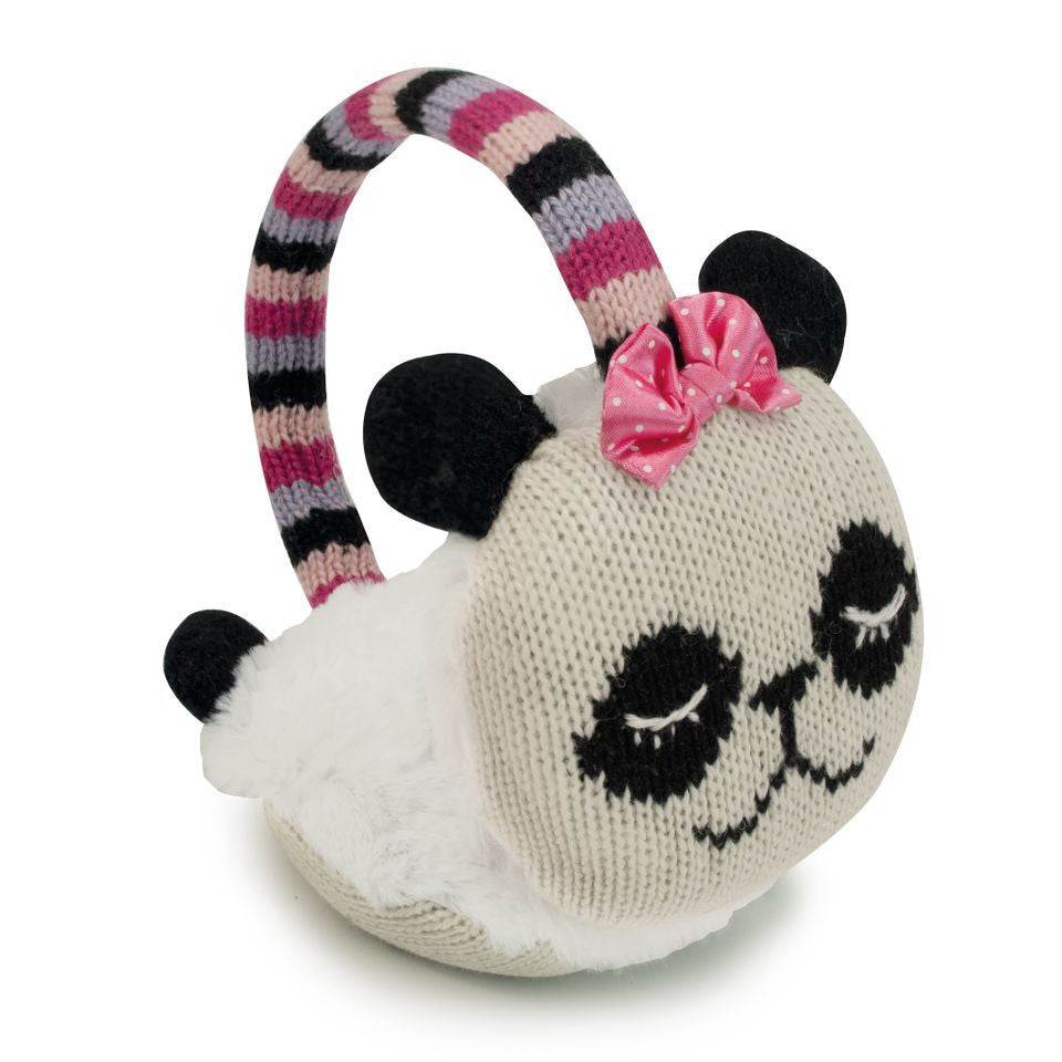 Knitted Panda Animal Ear Muffs - Hotwaterbottleshop.co.uk