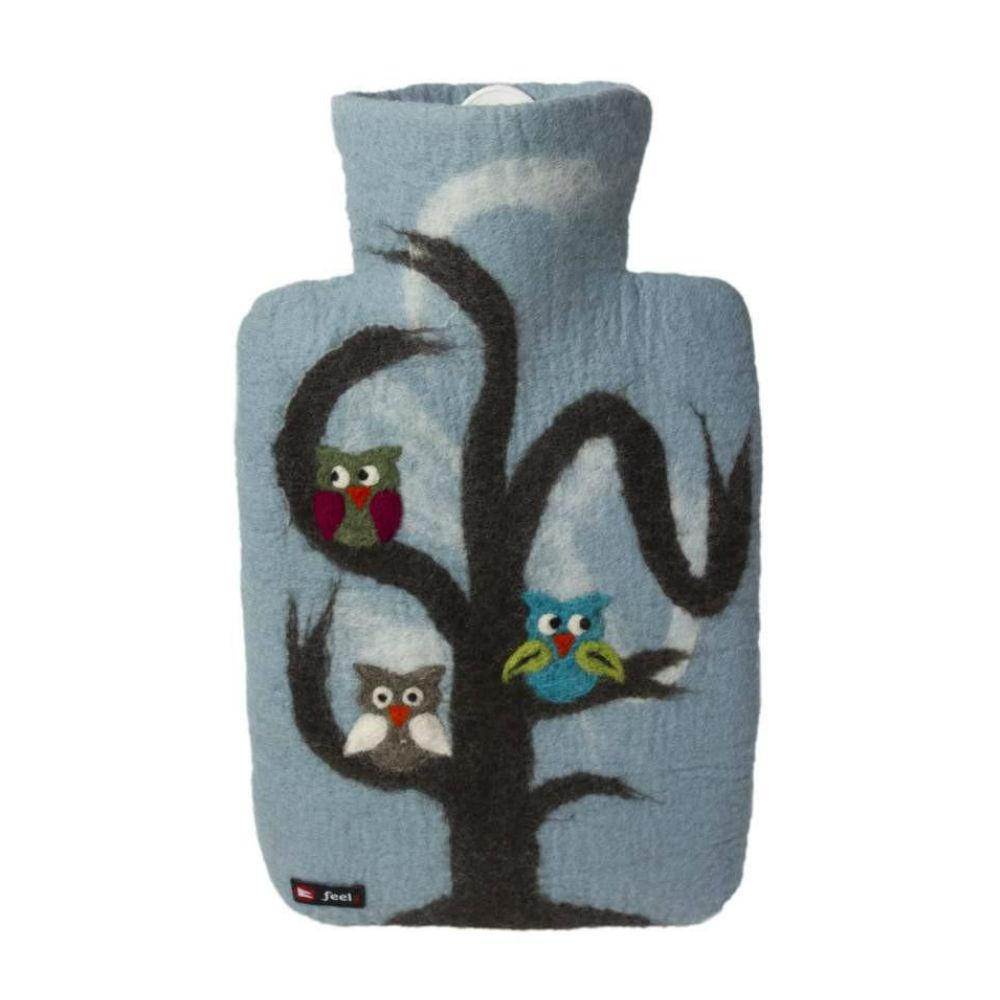 "1.8 litre ""Eco-Sustainable"" Hot Water Bottle with Felt Merino Wool Owl Cover (rubberless)"