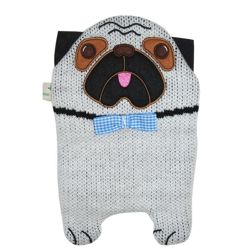 "0.8 litre ""Eco-Sustainable"" Hot Water Bottle with Pug Cover (rubberless)"
