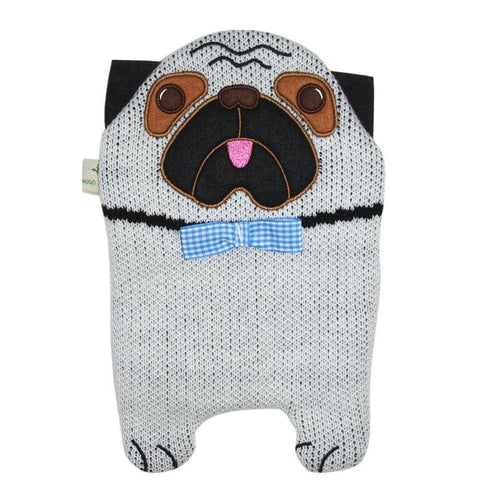 "0.8 litre ""Eco-Sustainable"" Hot Water Bottle with Pug Cover (rubberless) - Hotwaterbottleshop.co.uk"