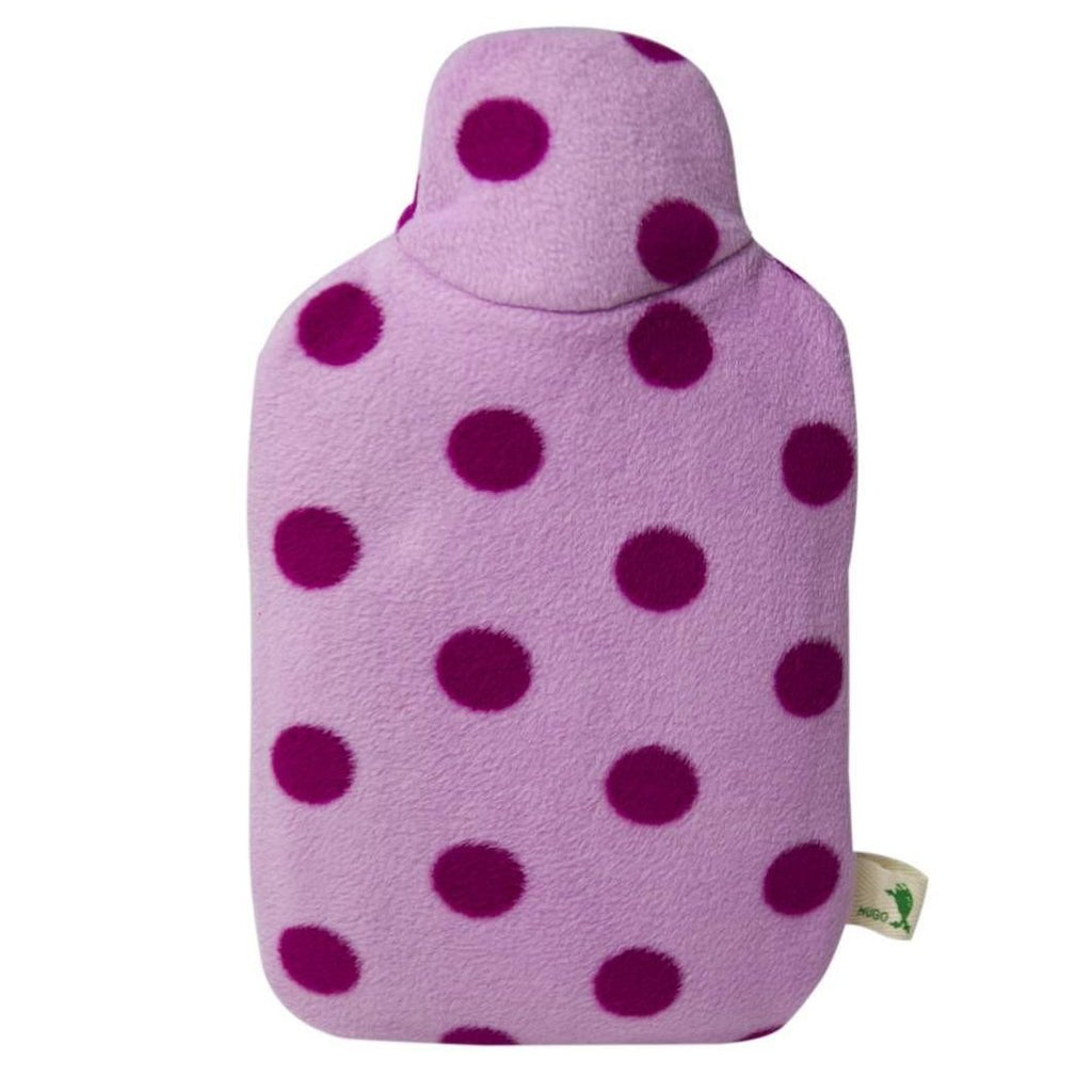 "0.8 litre ""Eco-Sustainable"" Hot Water Bottle with Purple Polka Dot Fleece Cover"