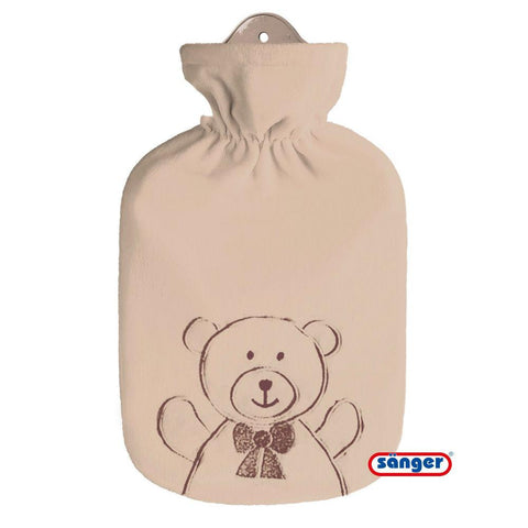 0.8 Litre Sanger Hot Water Bottle with a Teddy Bear Fleece Cover