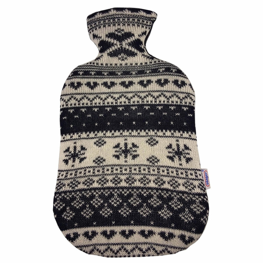 2 Litre Sanger Hot Water Bottle with Knitted Norwegian Cover - Hotwaterbottleshop.co.uk