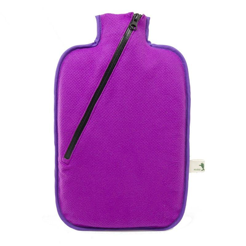 "2 litre ""Eco-Sustainable"" Hot Water Bottle with Purple Zip Cover (rubberless) - Hotwaterbottleshop.co.uk"
