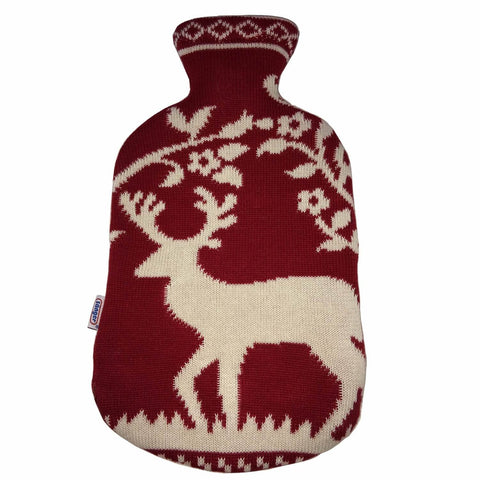 2 Litre Sanger Hot Water Bottle with Knitted Deer Cotton Cover - Hotwaterbottleshop.co.uk