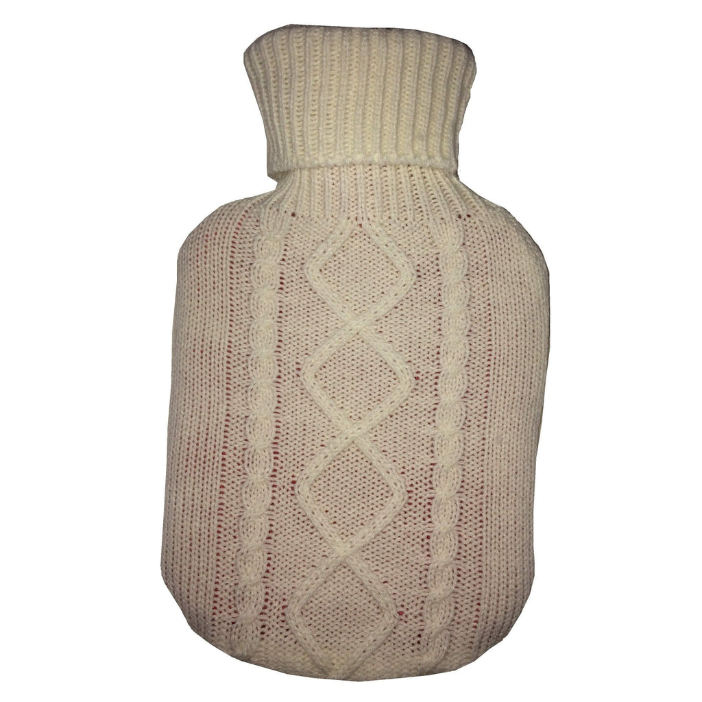 0.8 Litre Sanger Hot Water Bottle with White Wool Cover - Hotwaterbottleshop.co.uk