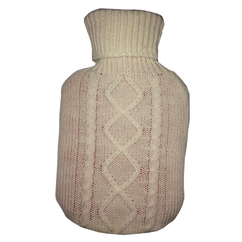0.8 Litre Sanger Hot Water Bottle with White Wool Cover