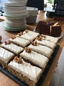 Espresso and walnut traybake slice