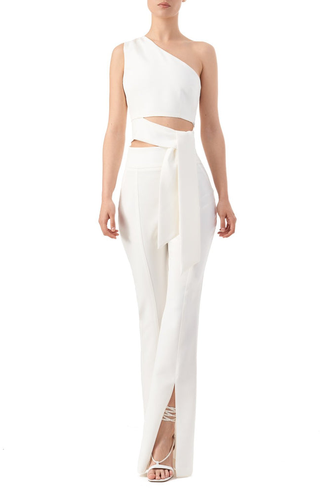 Kelly White High Waist Split Open Hem Trousers