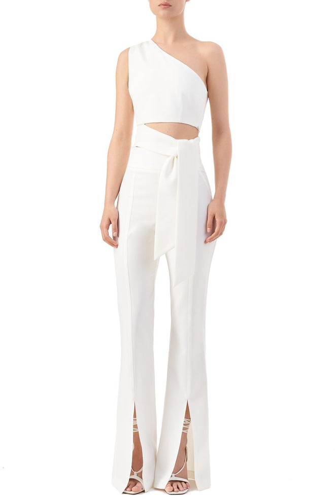 Mariah White One Shoulder Bow Crop Top