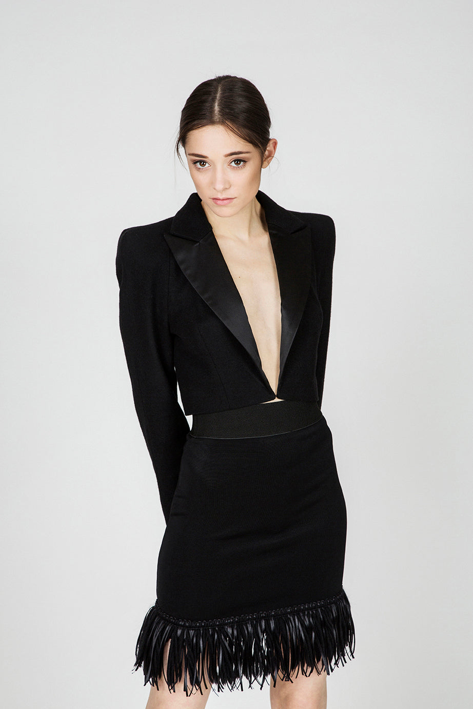 Deborah Black Crop Blazer