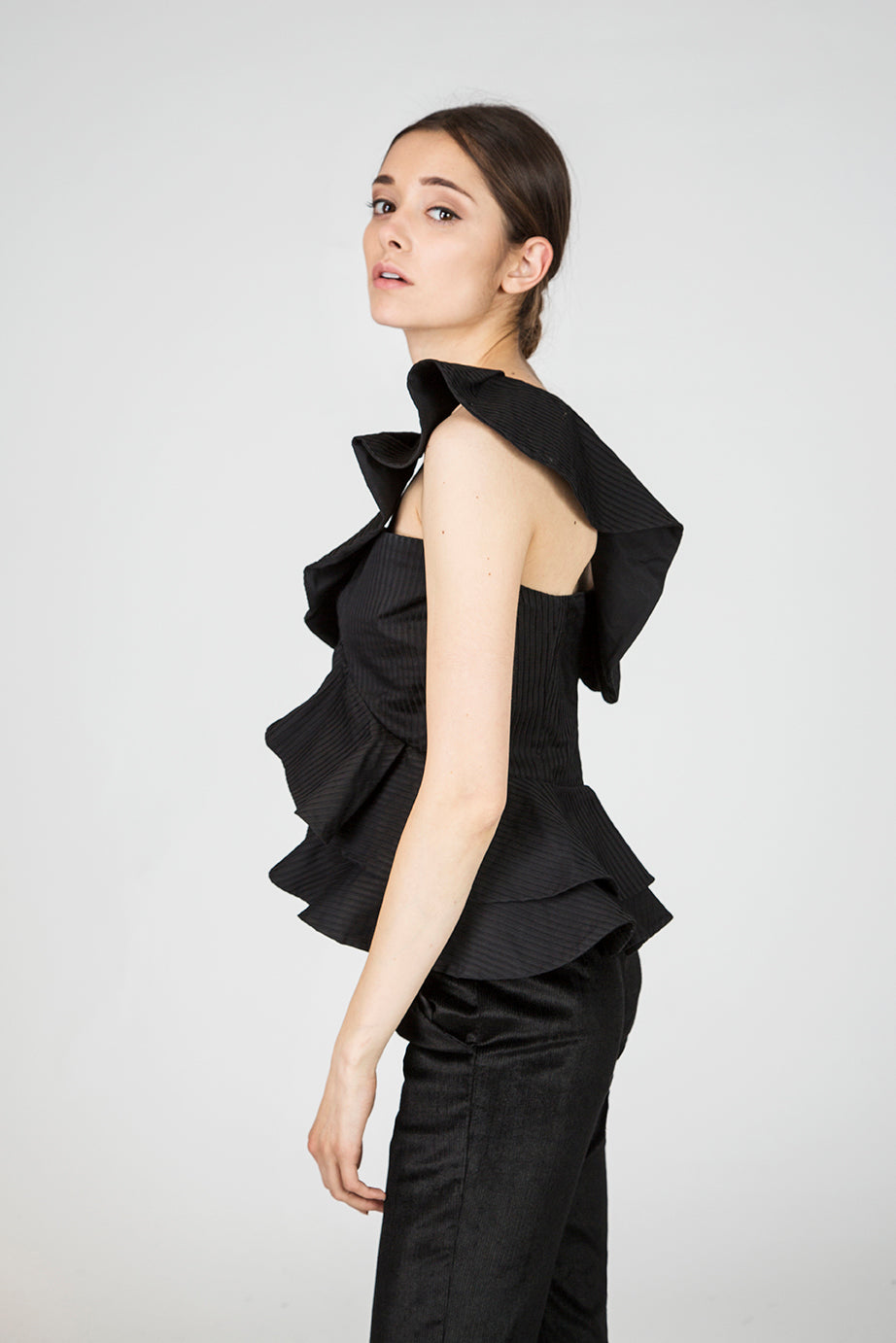 Doris Black Ruffle Top