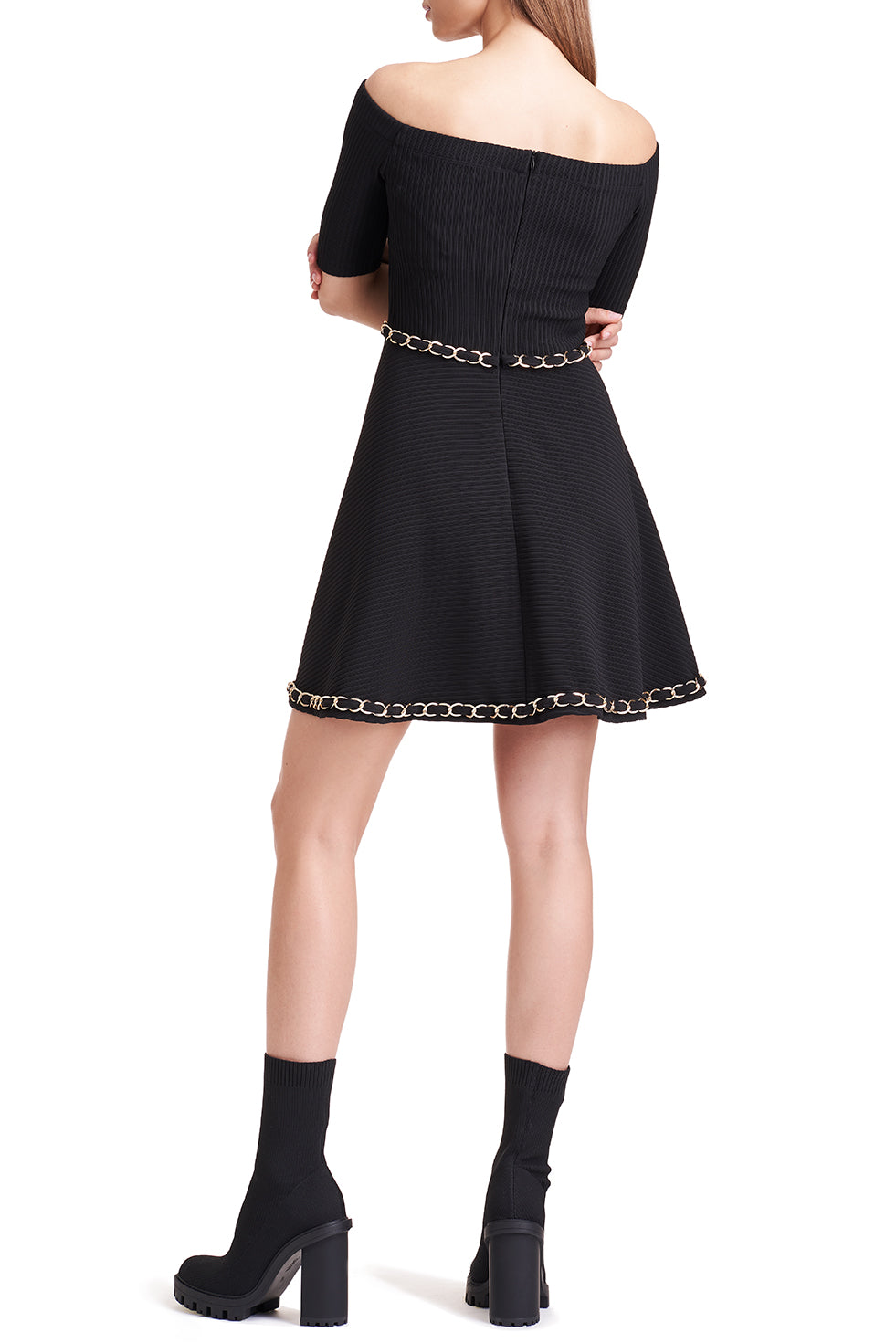 Karla Chain Embellished Black Dress