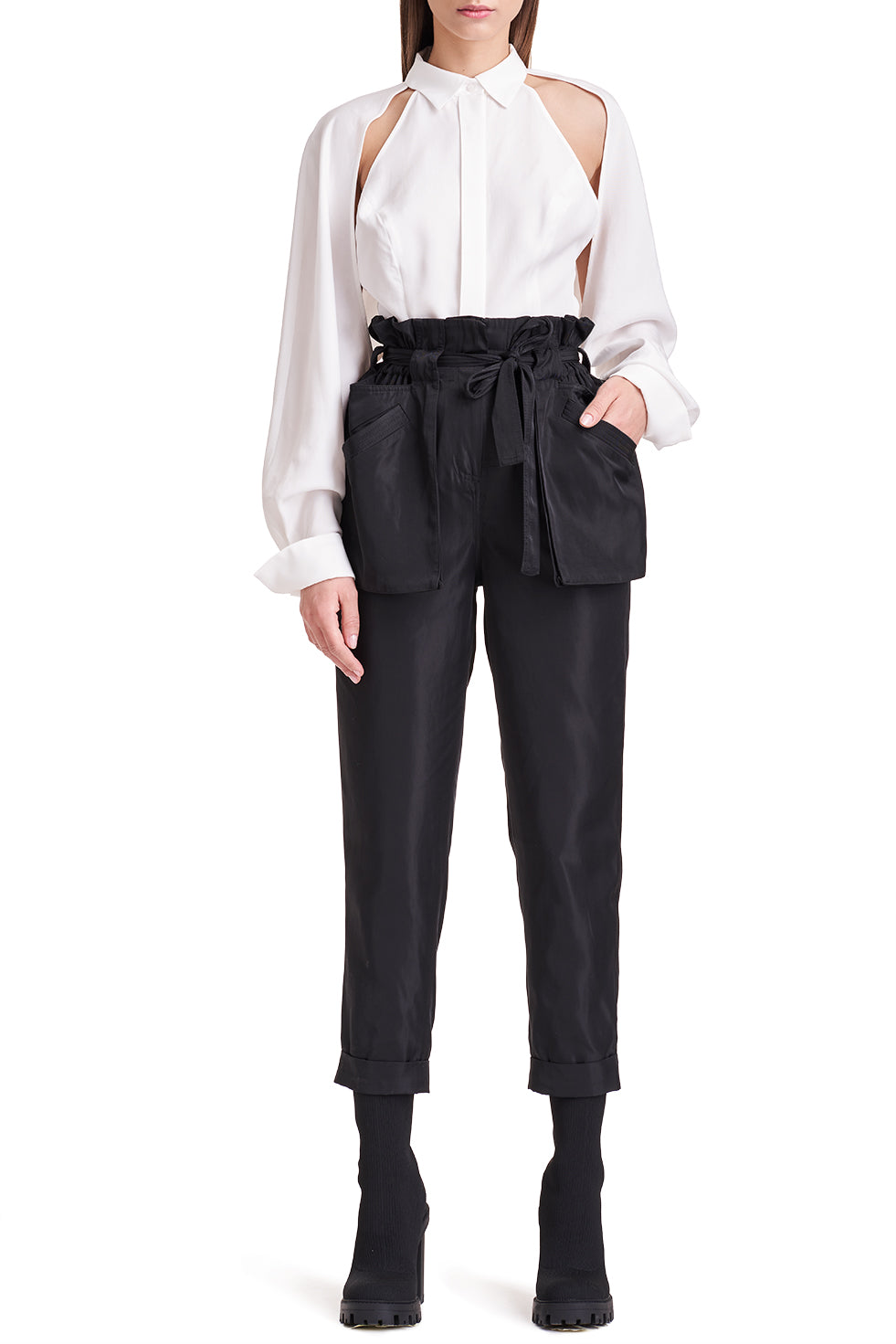 Amena Sleek Paper Bag Trousers