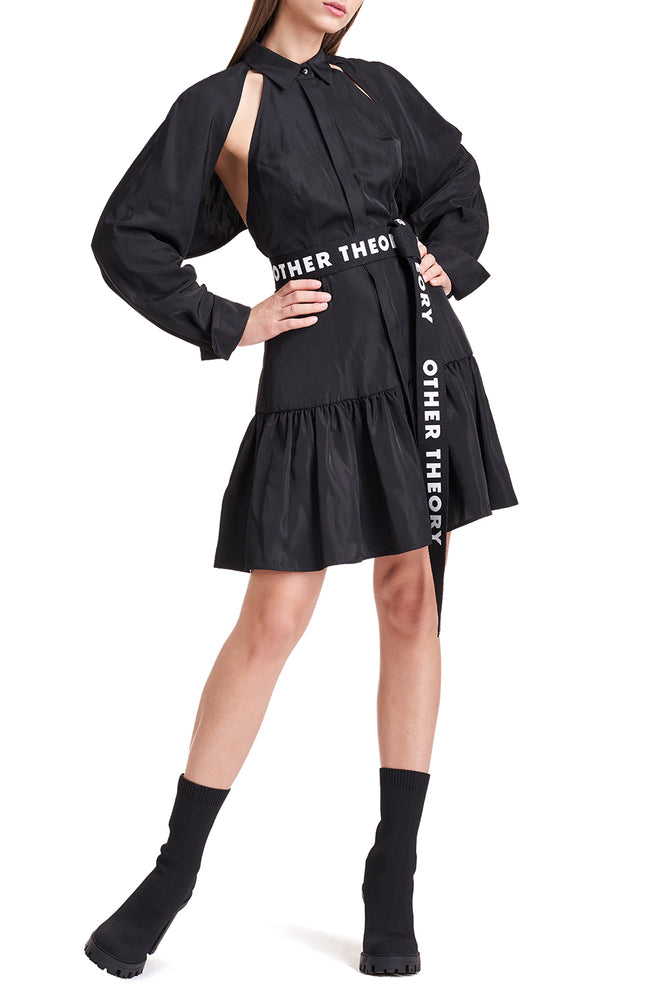 Sharon Black Cape Sleeve Dress