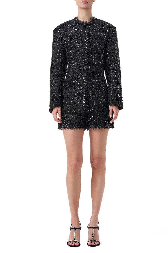 Caroline Fringe and Sequin embellished structured longline blazer
