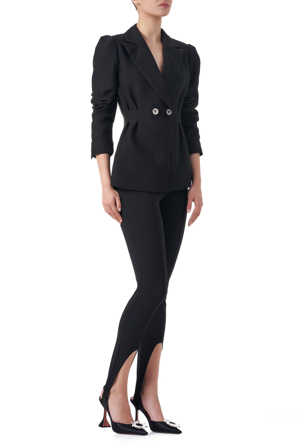Allison Black fitted puff sleeve double breasted blazer