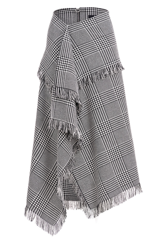 Olivia Checked Asymmetric Fringed Skirt