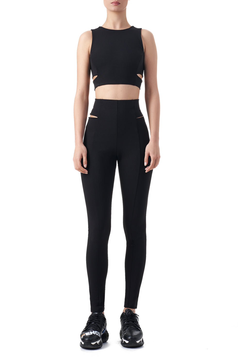 Deborah Black high cut out detailed yoga leggings