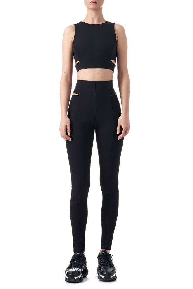 Darcy Black sleeveless Yoga crop top