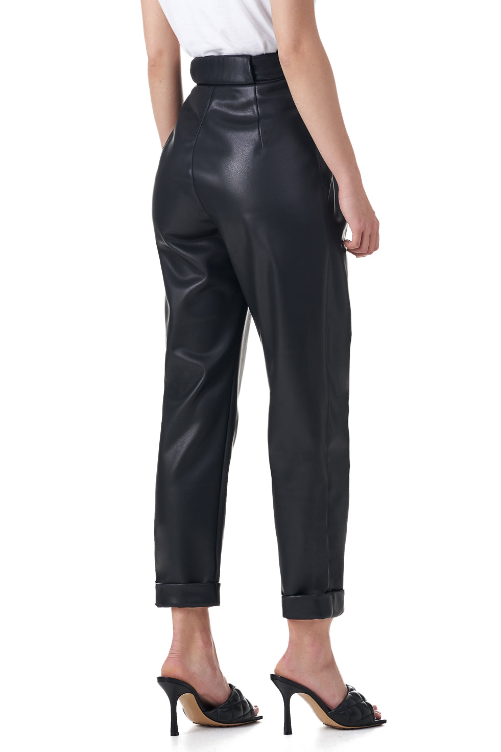 Mony Black faux leather slim leg trousers
