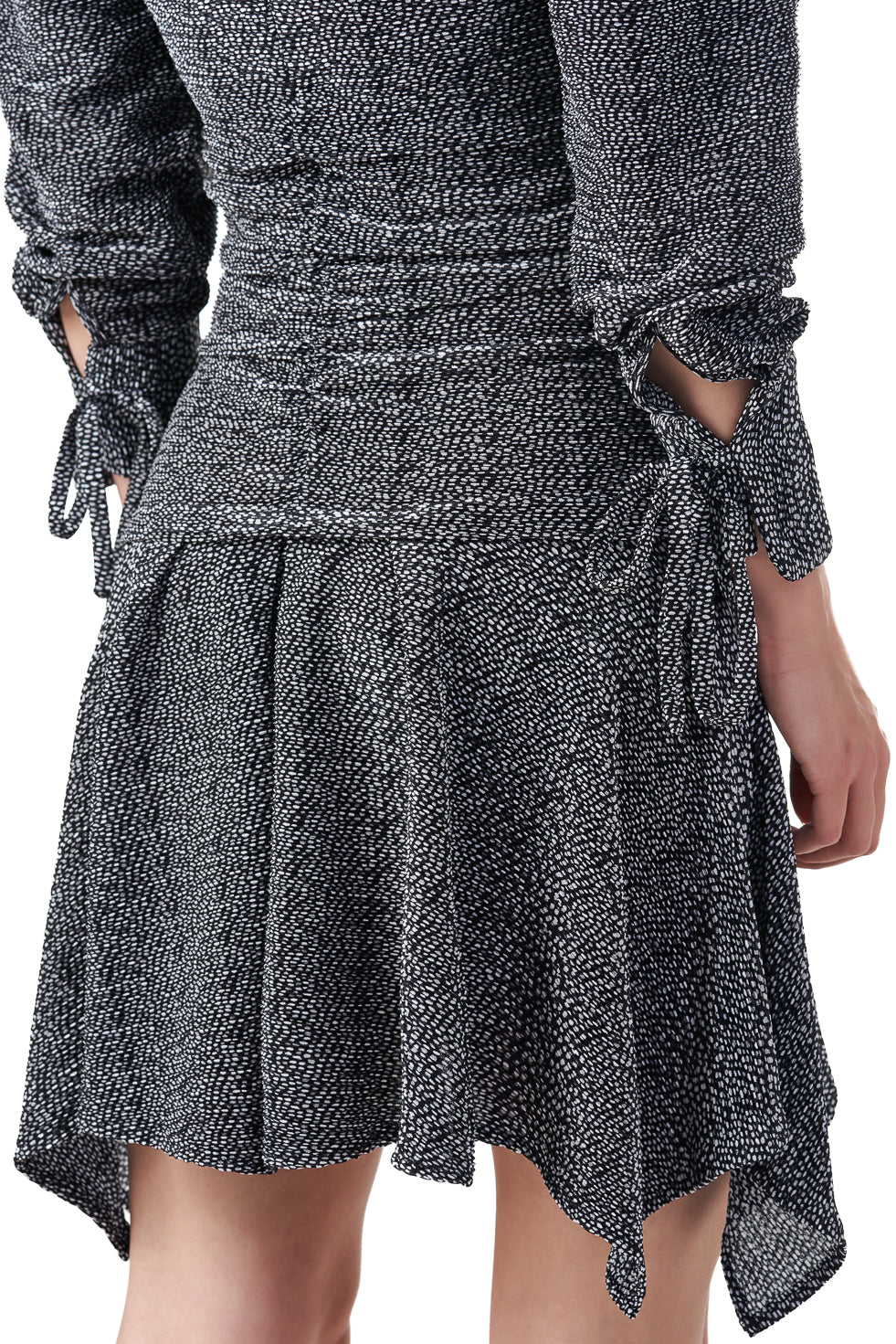 Rome Padded long sleeve asymmetric frill dress