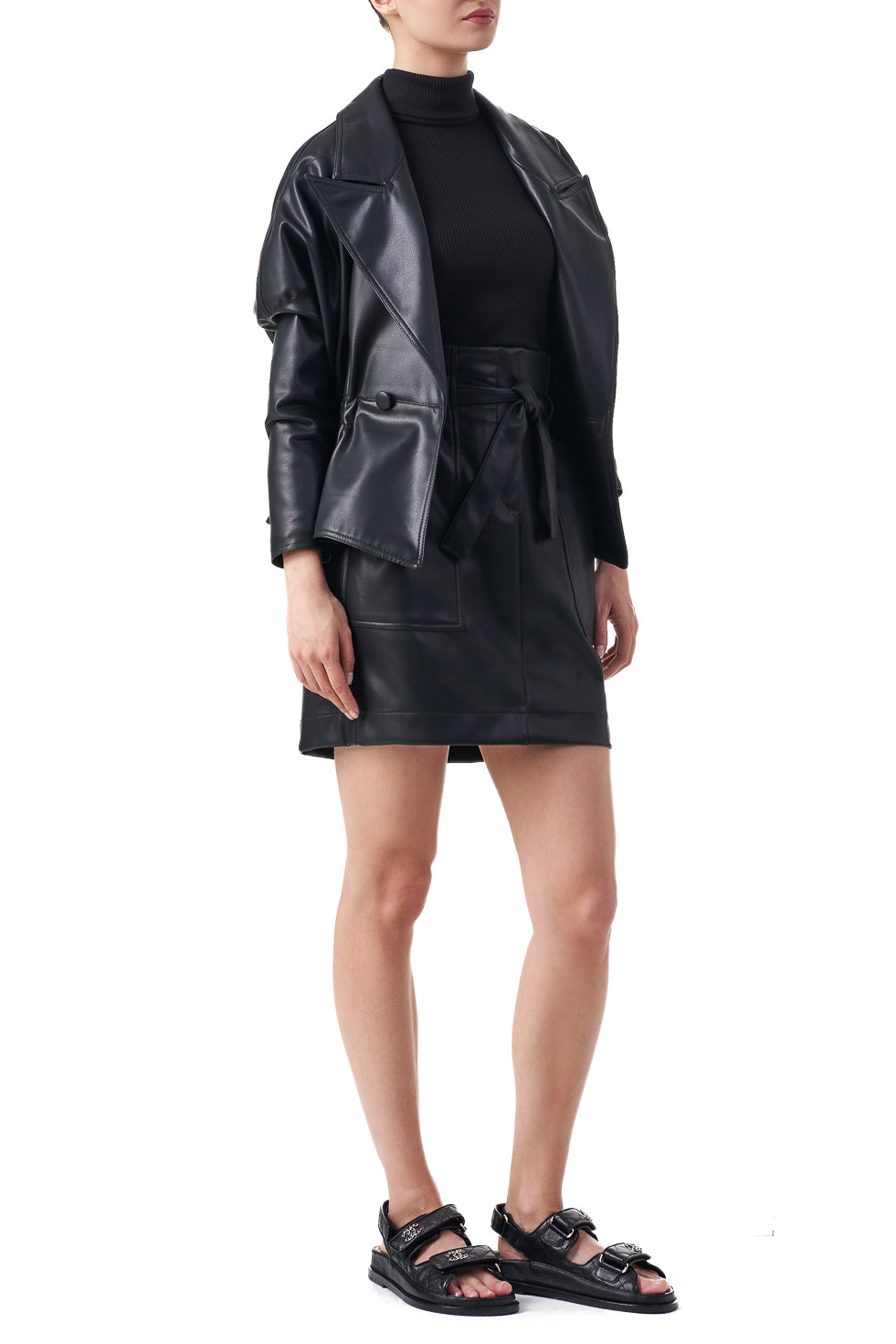 Tommy Black faux leather elasticated waist blazer jacket