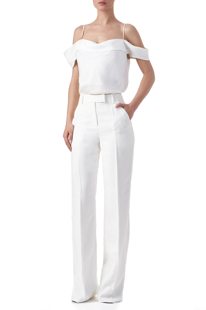 Flo White wide leg suit trousers