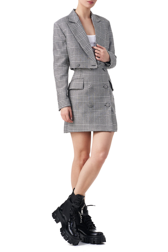 Madison Checked cropped double breasted blazer