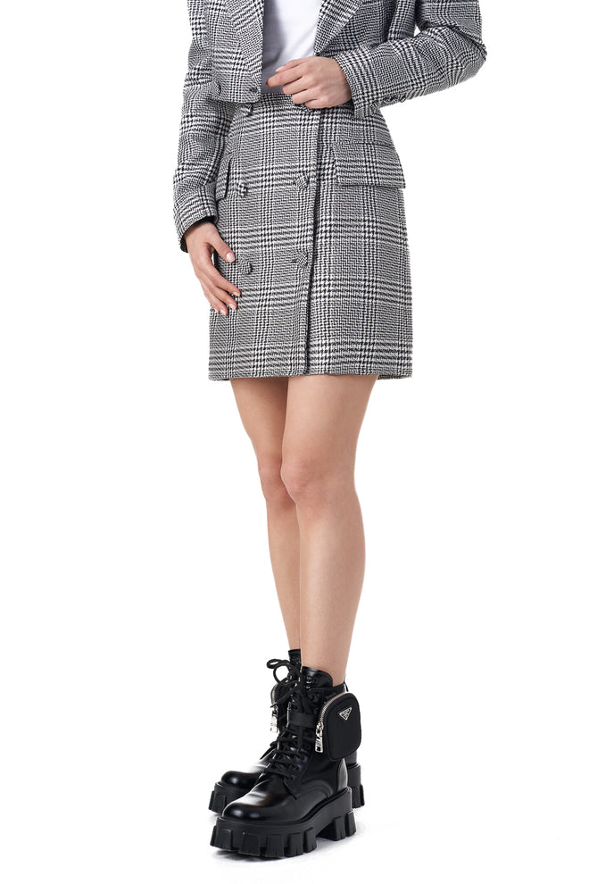Helga Checked button detailed blazer skirt