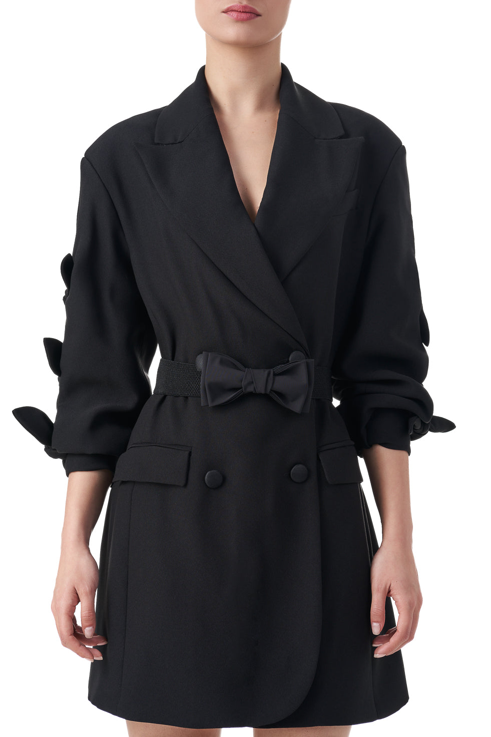 Elise Black tie sleeve belted blazer dress