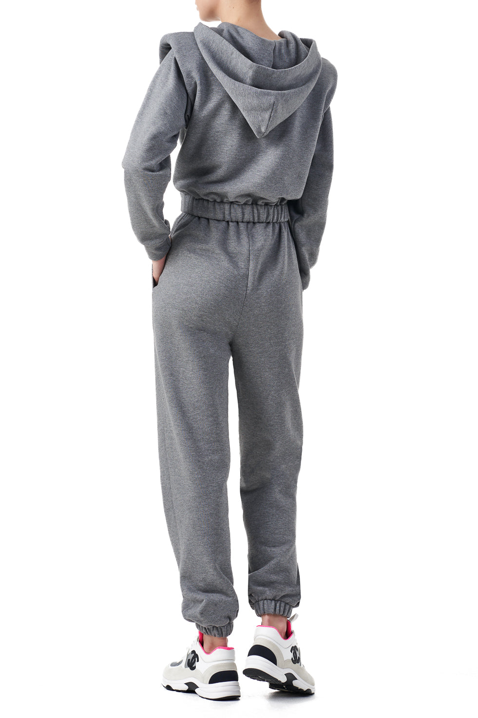 Amica Grey Other Theory tie front signature hoodie