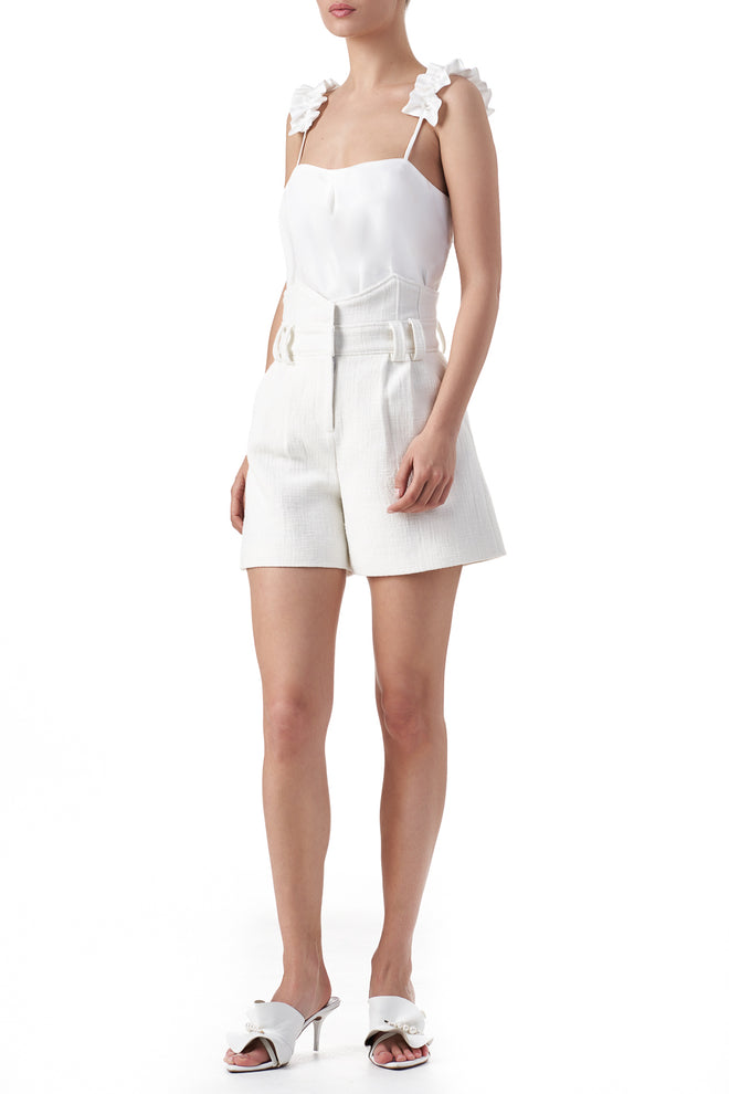 Kim White front pockets structured shorts