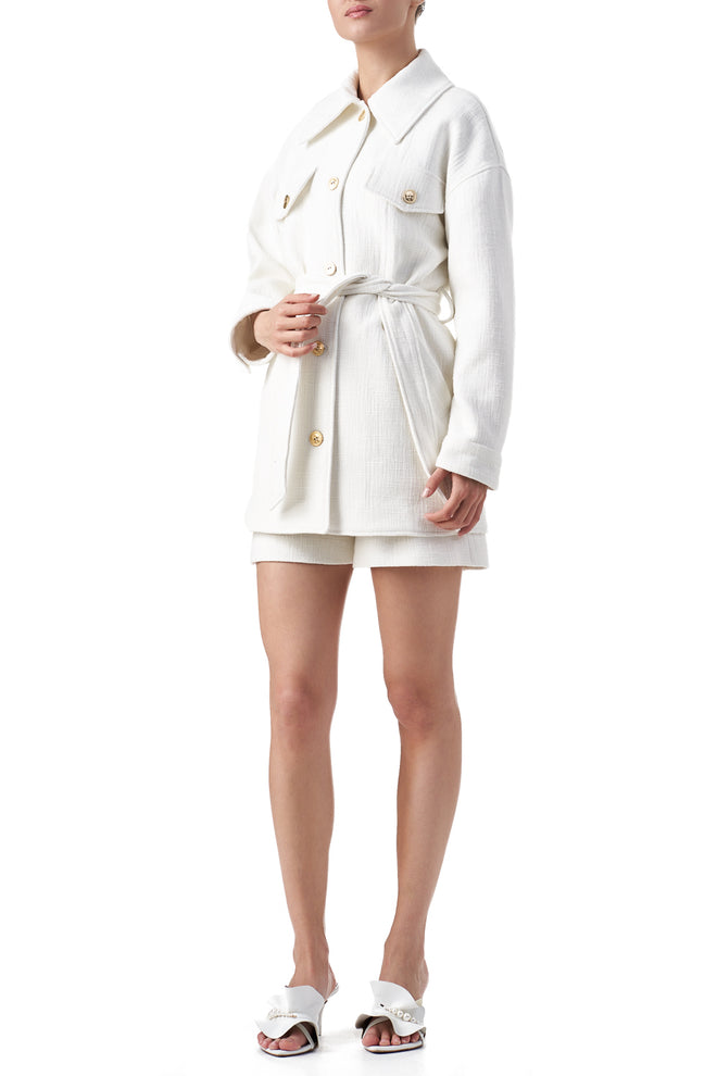 Harper White gold buttoned long line Shacket