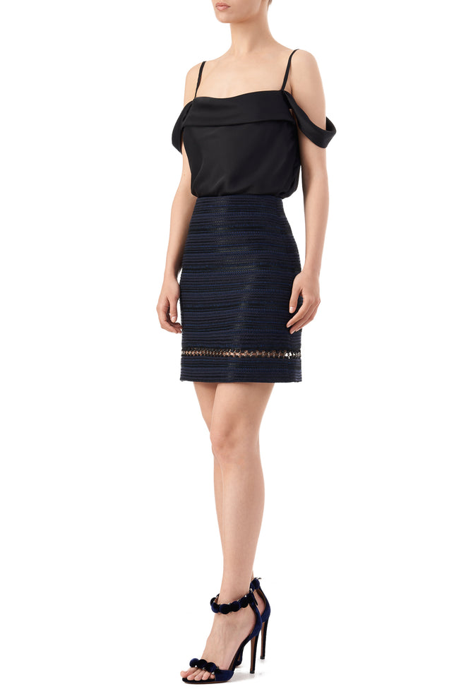 Nora high waisted chain embroidered mini skirt