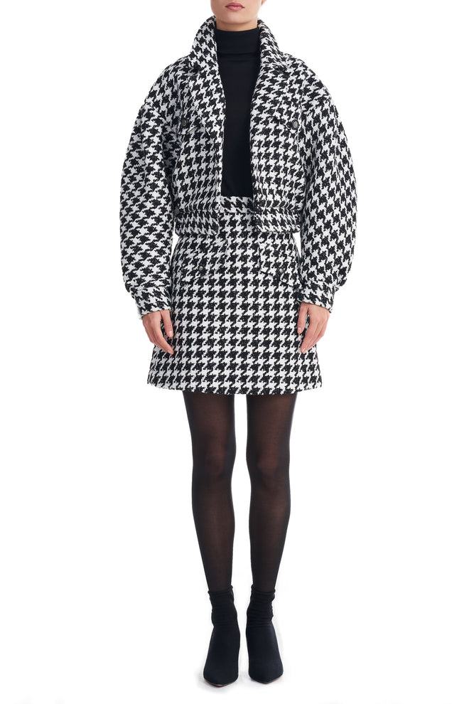 Reese Black Dogtooth Boucle Long Sleeve Blazer