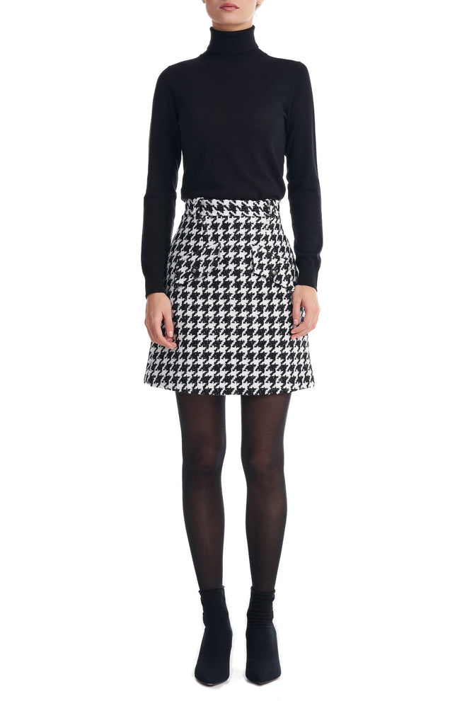 Adel Black Dogtooth Boucle Mini Skirt