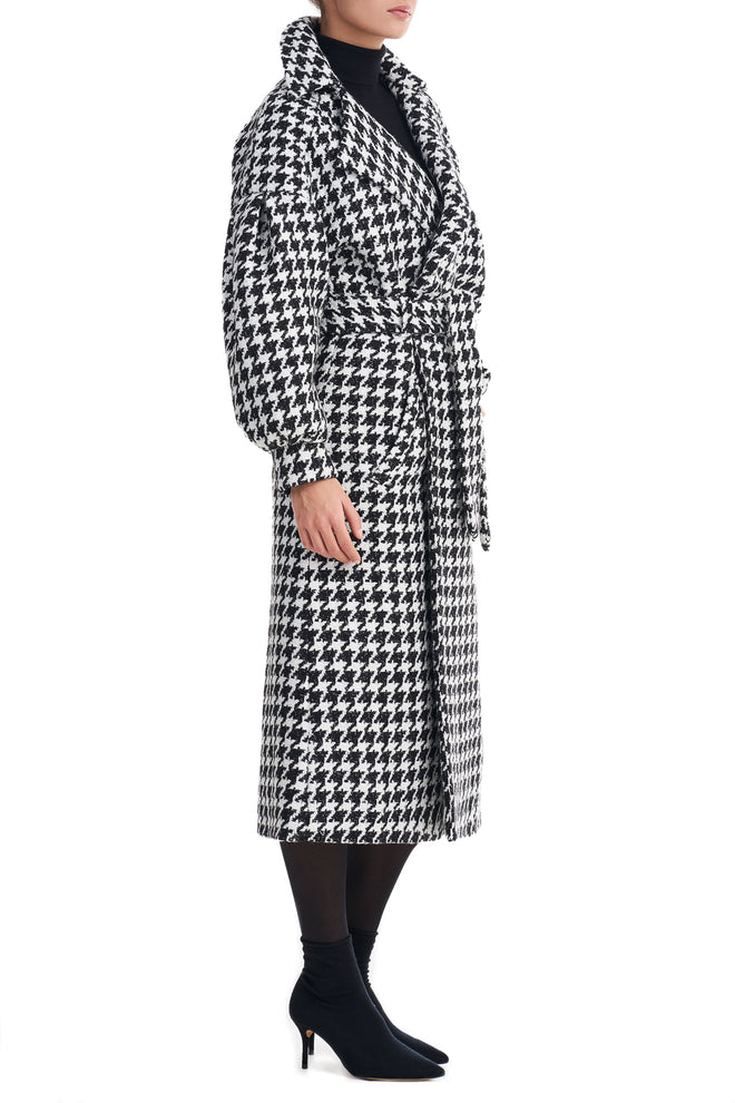 Janne Black Dogtooth Boucle Coat