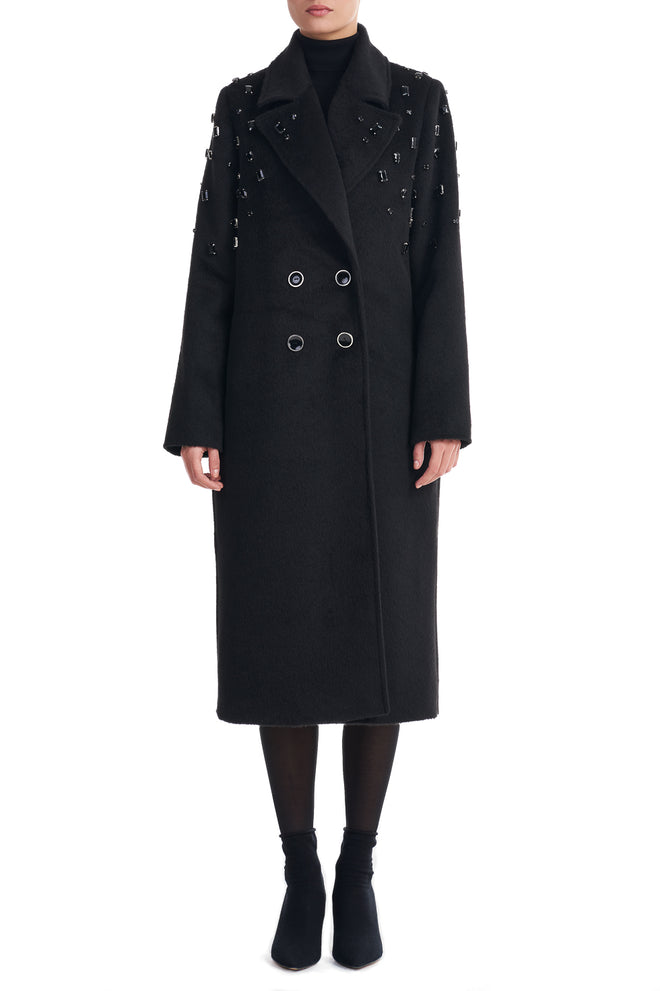 Janne Black Stone Embellished Long Line Coat