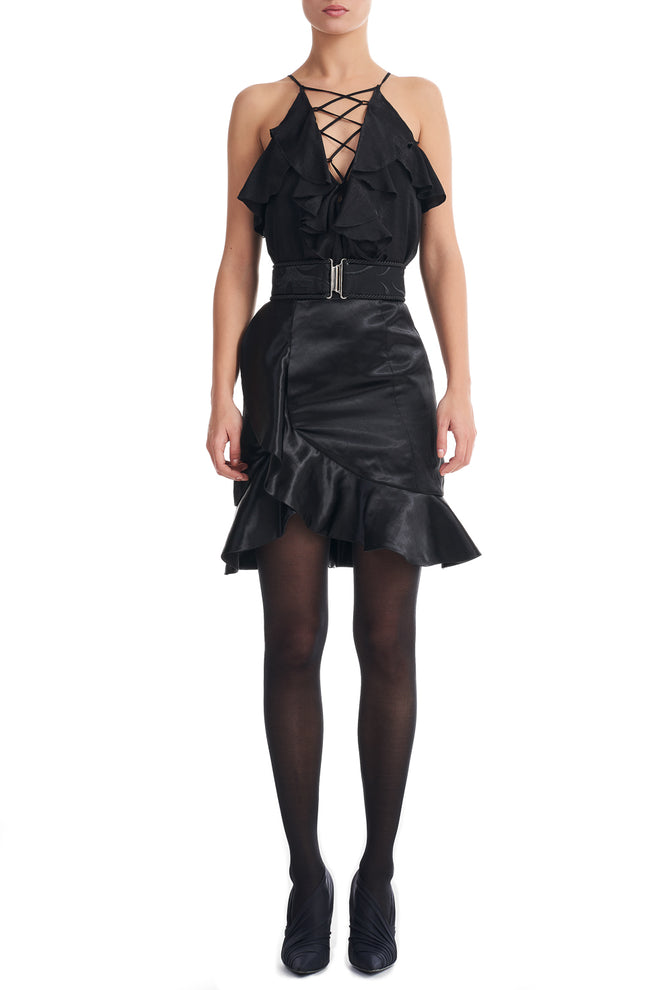 Janelle Black Frill Hem Mini Skirt