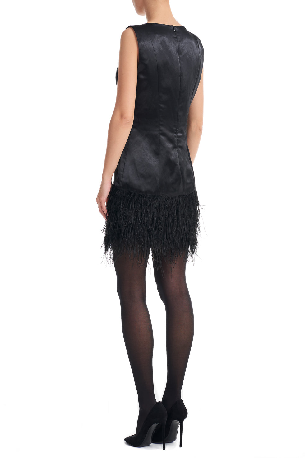 Bethany Black Feather Trim Mini Dress