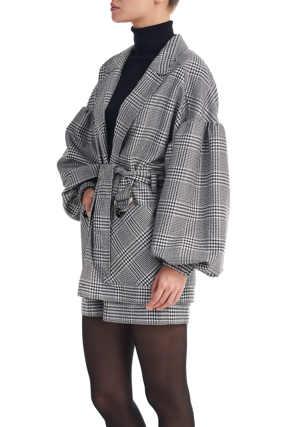 Olivia Grey Check Puff Sleeve Belted Blazer