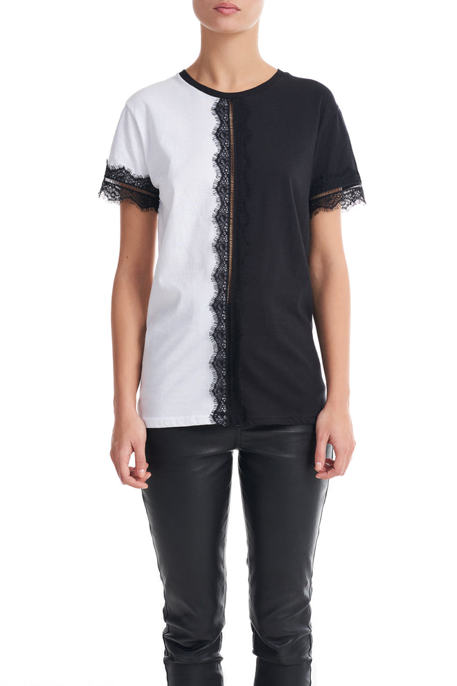 Amanda Contrast Black and White Lace Detail T-shirt
