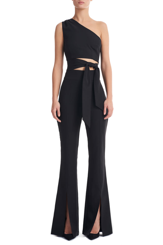 Kelly Black High Waist Split Open Hem Trousers