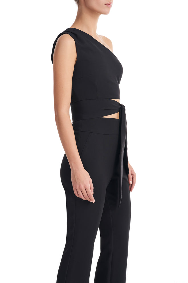 Mariah Black One Shoulder Bow Crop Top