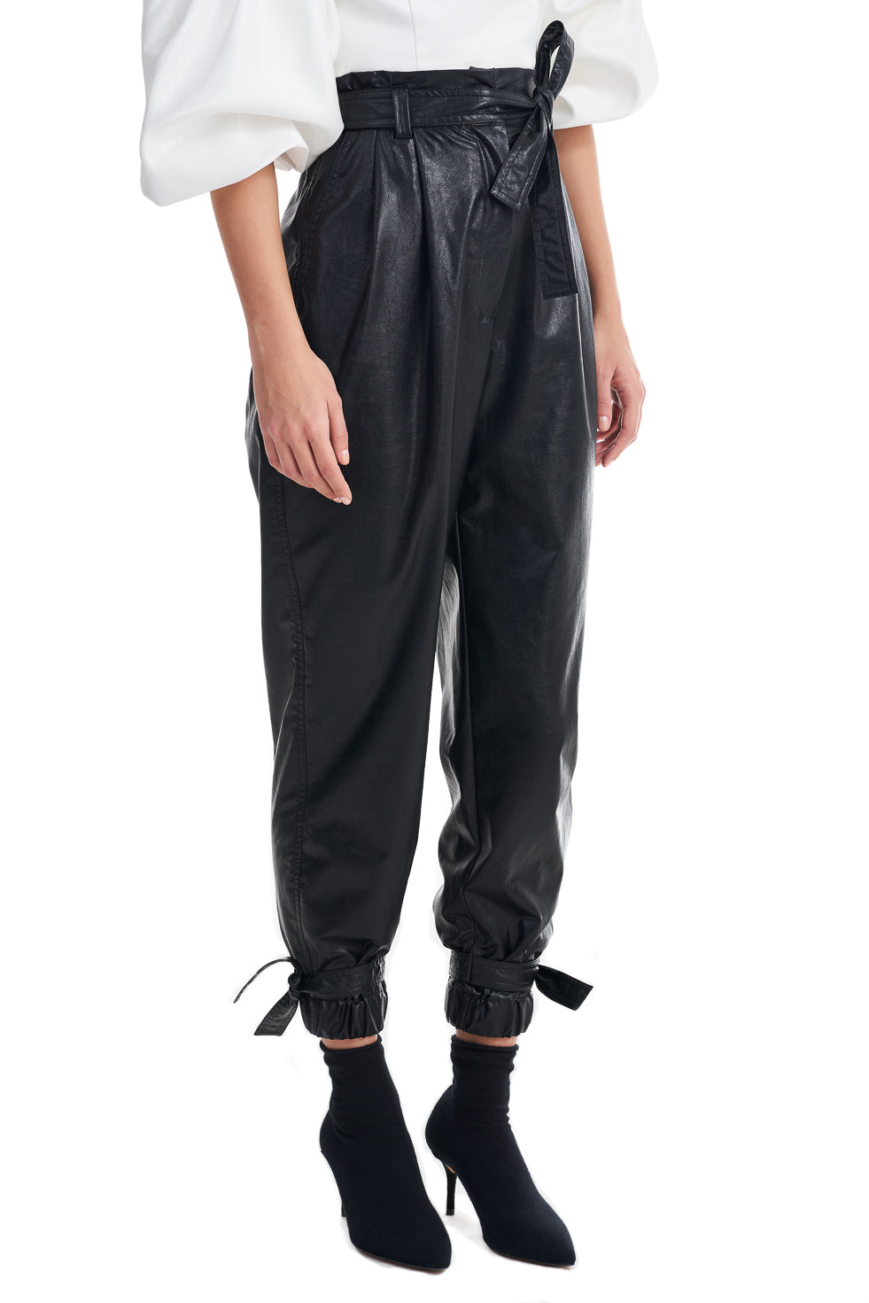 Susan Black Faux Leather Cuff High Waist Trousers