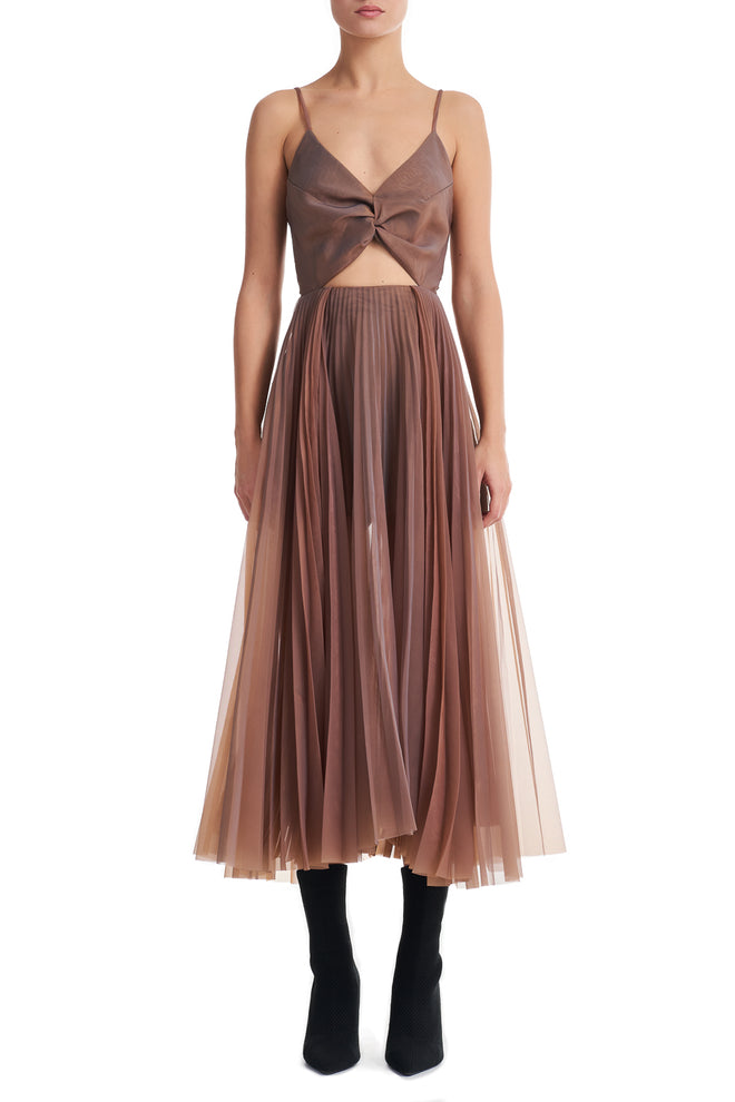 Megan Chameleon Pleated Midi Cut Out Dress