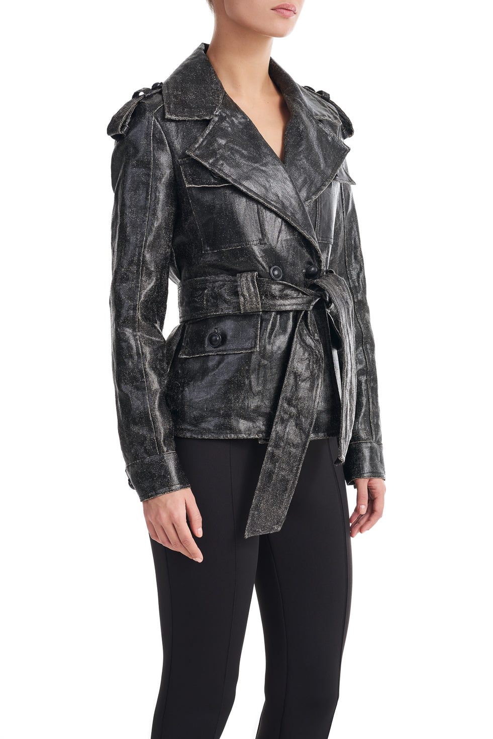 Janet Black Belted Trench Jacket