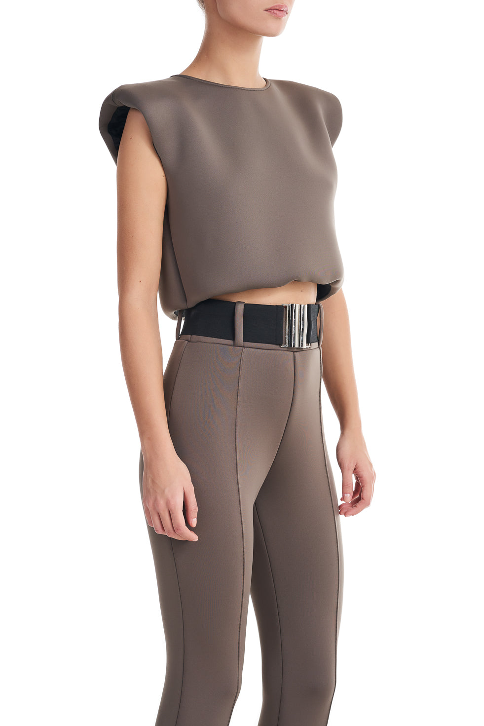 Withney Khaki Sleeveless Shoulder Pad Top