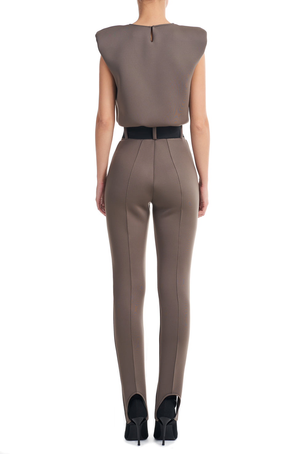 Simone khaki high waist belted Leggings